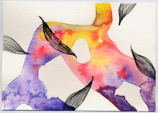 Ink, Watercolour on Paper